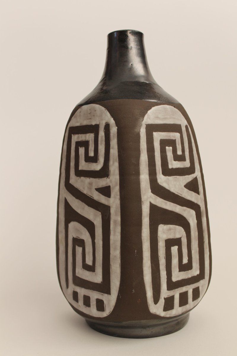 belgische vase in schwarz wei von keramar bei pamono kaufen. Black Bedroom Furniture Sets. Home Design Ideas