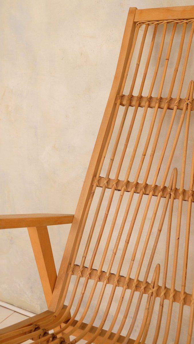 Vintage schaukelstuhl aus bambus 1950er bei pamono kaufen for Schaukelstuhl aus bambus