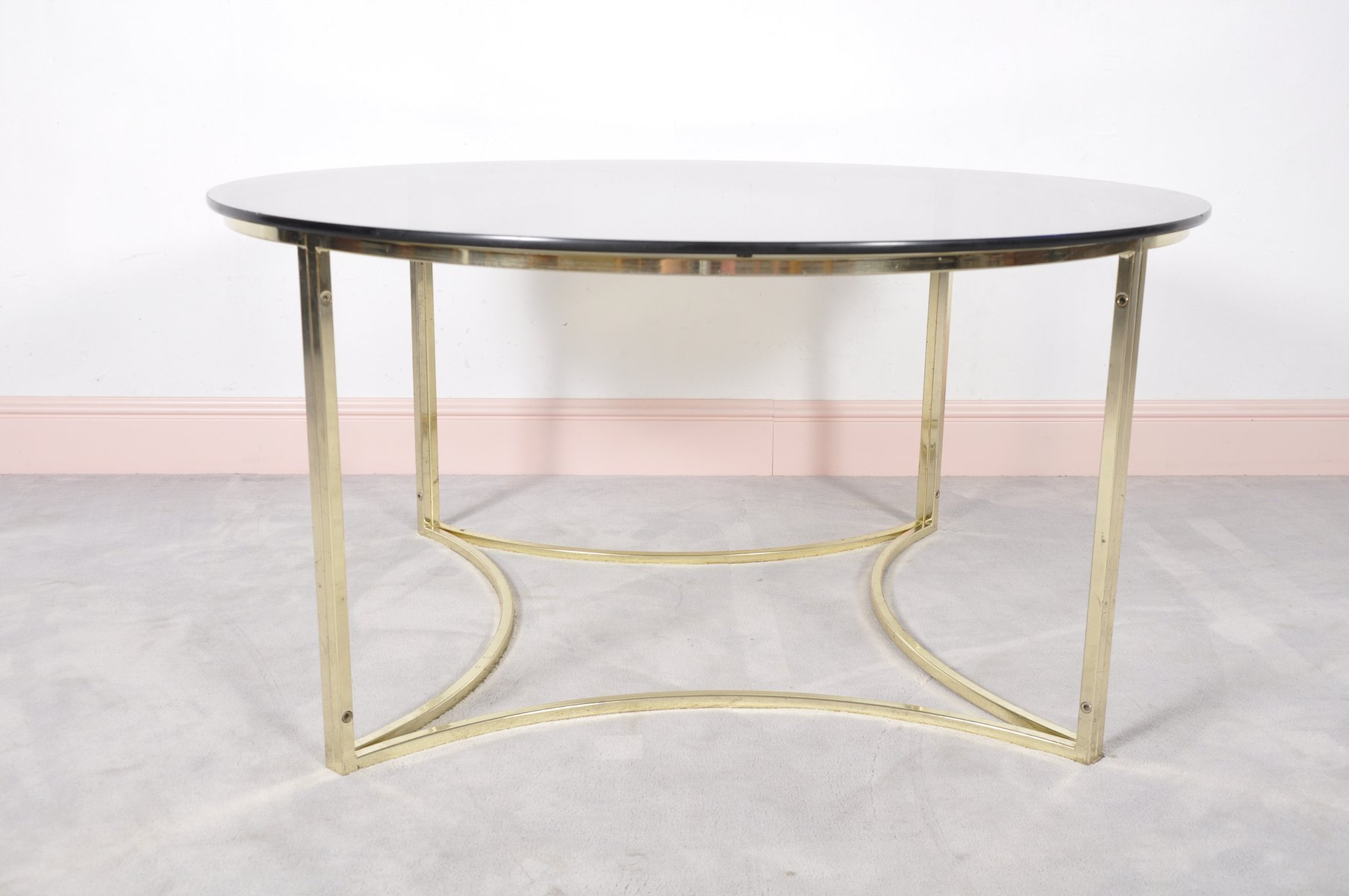 Mid Century Brass & Glass Coffee Table for sale at Pamono