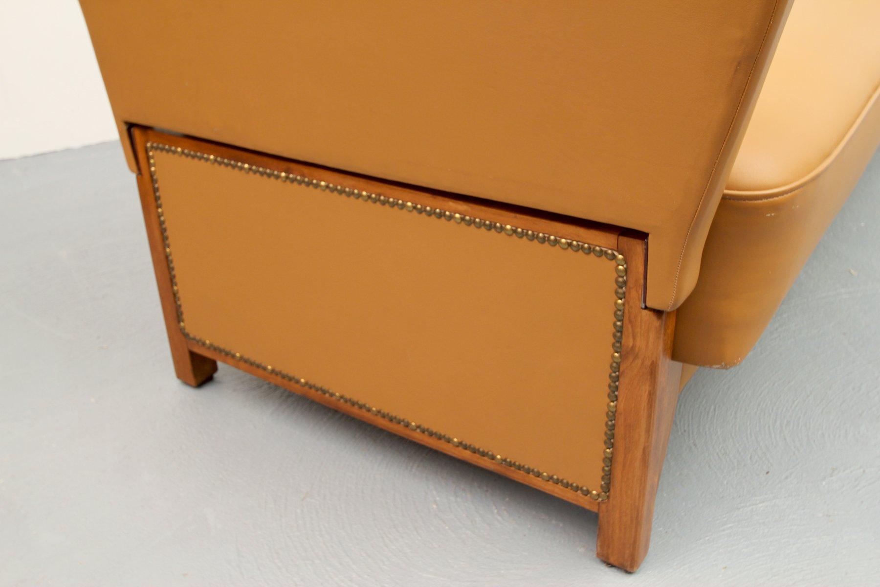 cognac leder schlafsofa 1950er bei pamono kaufen. Black Bedroom Furniture Sets. Home Design Ideas