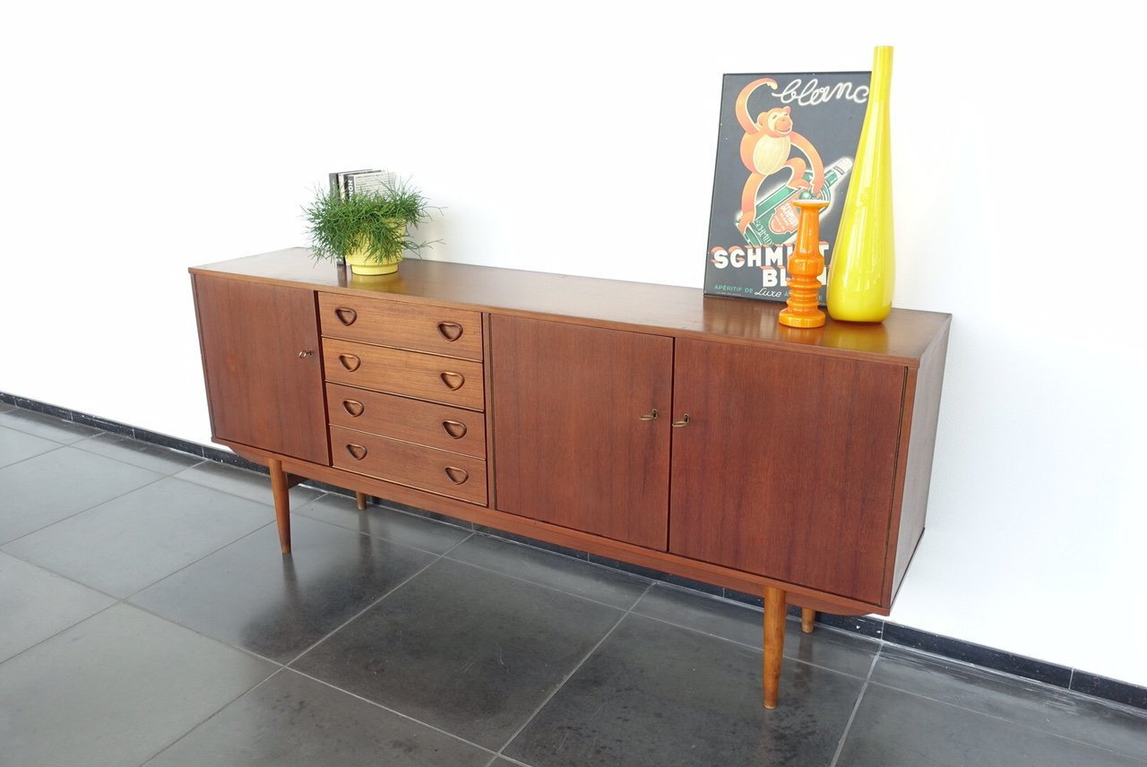 sideboard mit 4 schubladen und 3 t ren 1960er bei pamono kaufen. Black Bedroom Furniture Sets. Home Design Ideas