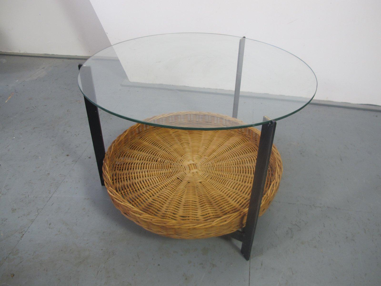 beistelltisch aus stahl glas rattan 1960er bei pamono kaufen. Black Bedroom Furniture Sets. Home Design Ideas