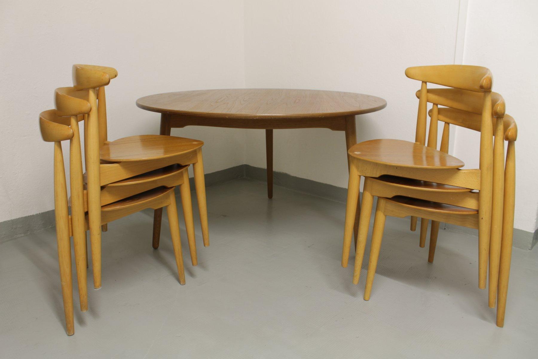 Heart Dining Set by Hans J Wegner for Fritz Hansen 1950s for sale
