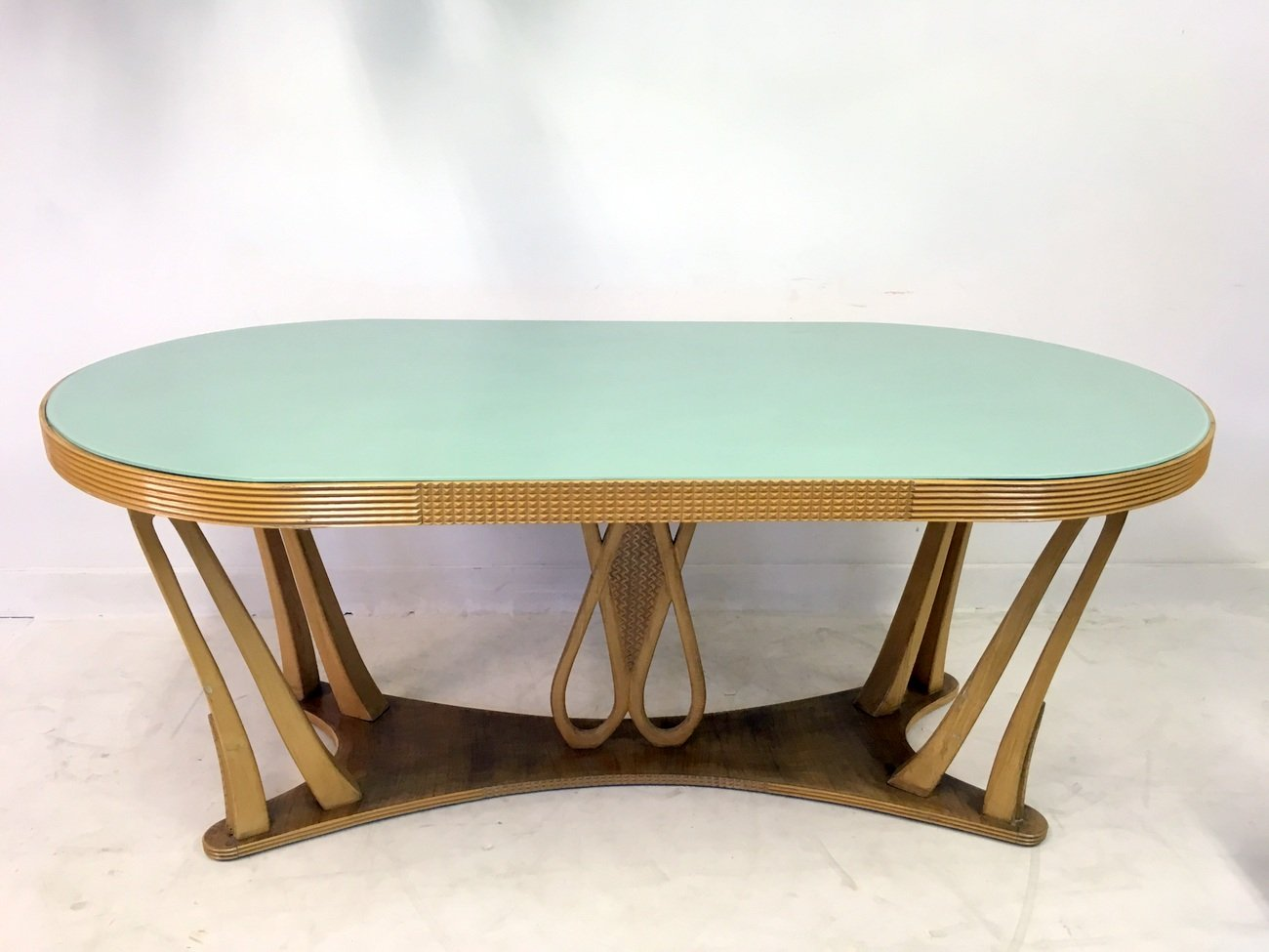 Vintage Italian Dining Table With Glass Top, 1940s
