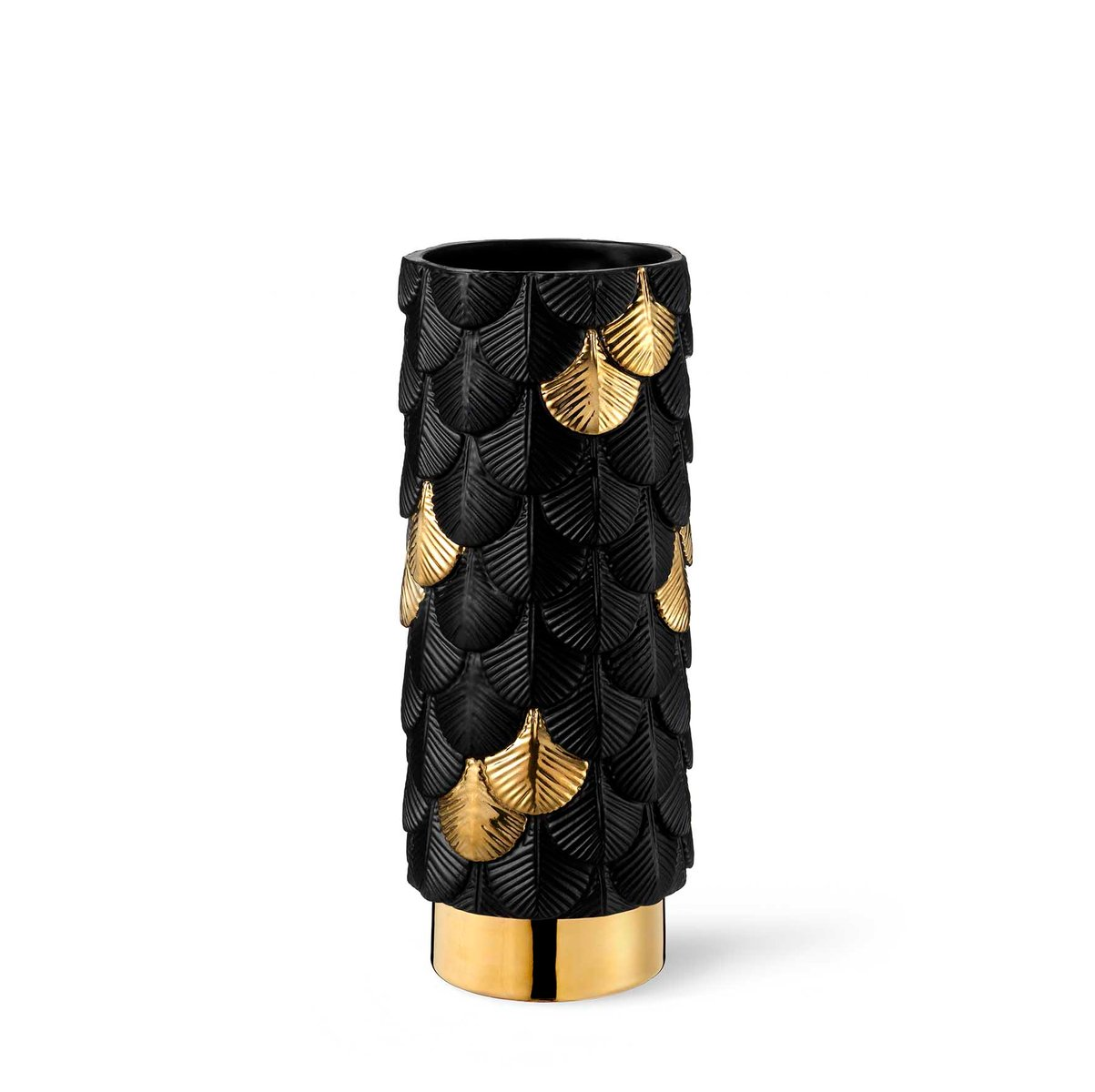 hand dekorierte plumage vase in mattem schwarz gold von cristina celestino f r botteganove bei. Black Bedroom Furniture Sets. Home Design Ideas