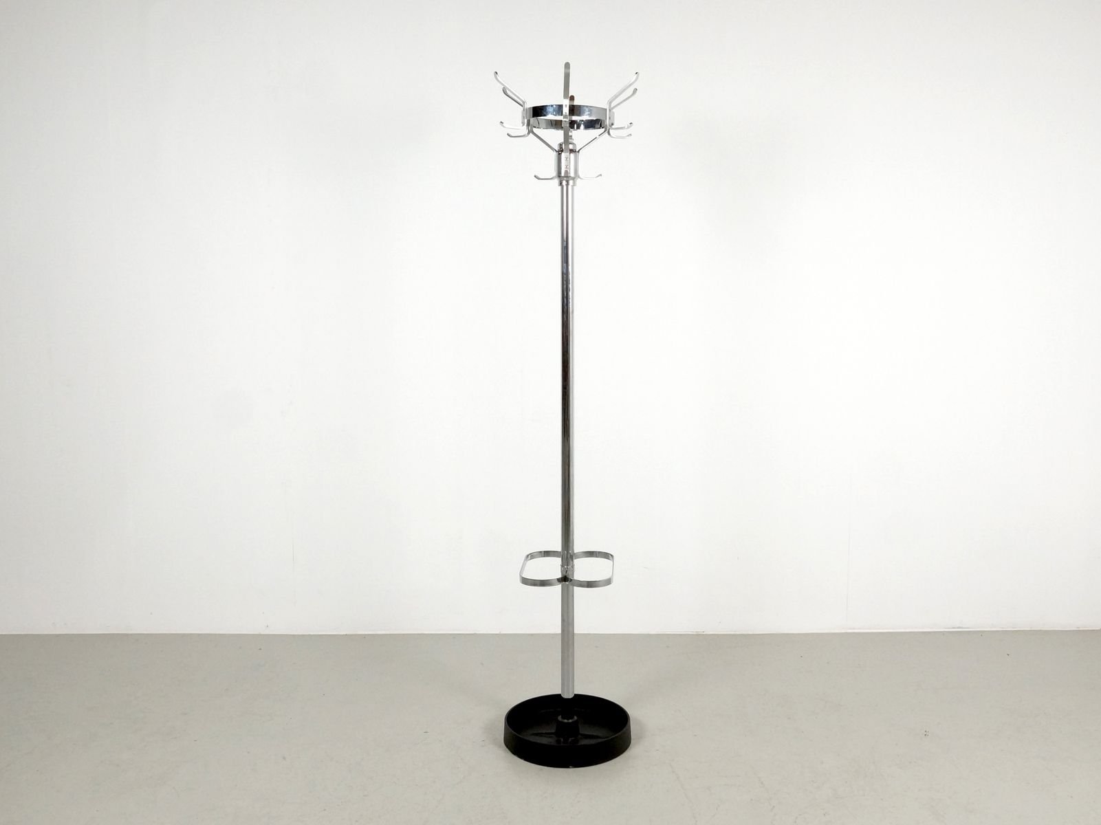 Standing Coat Rack In Chrome With Umbrella Stand 1970s