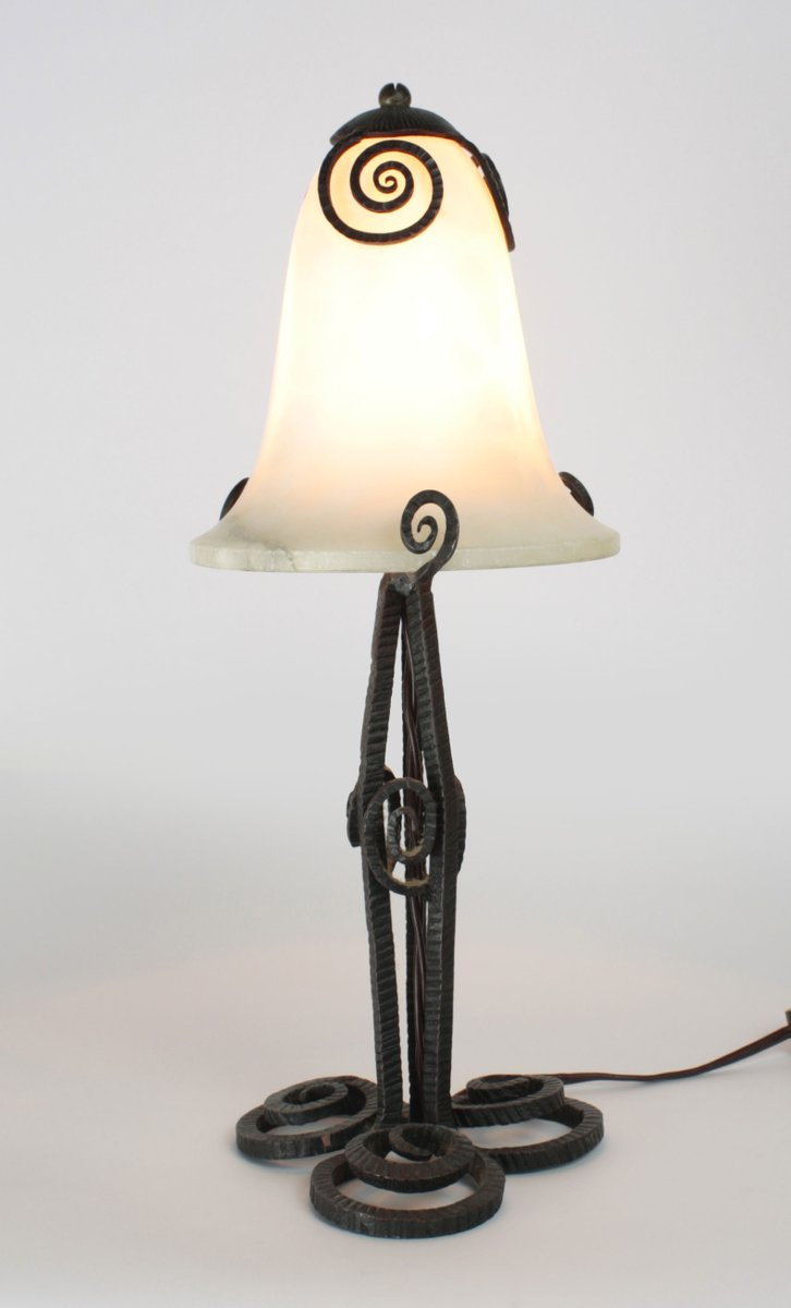 Art deco wrought iron and alabaster table lamp 1920s for sale at pamono art deco wrought iron and alabaster table lamp 1920s mozeypictures Choice Image