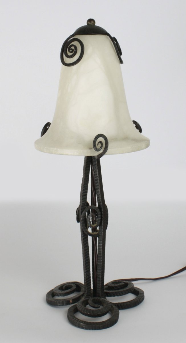 Art Deco Wrought Iron And Alabaster Table Lamp, 1920s