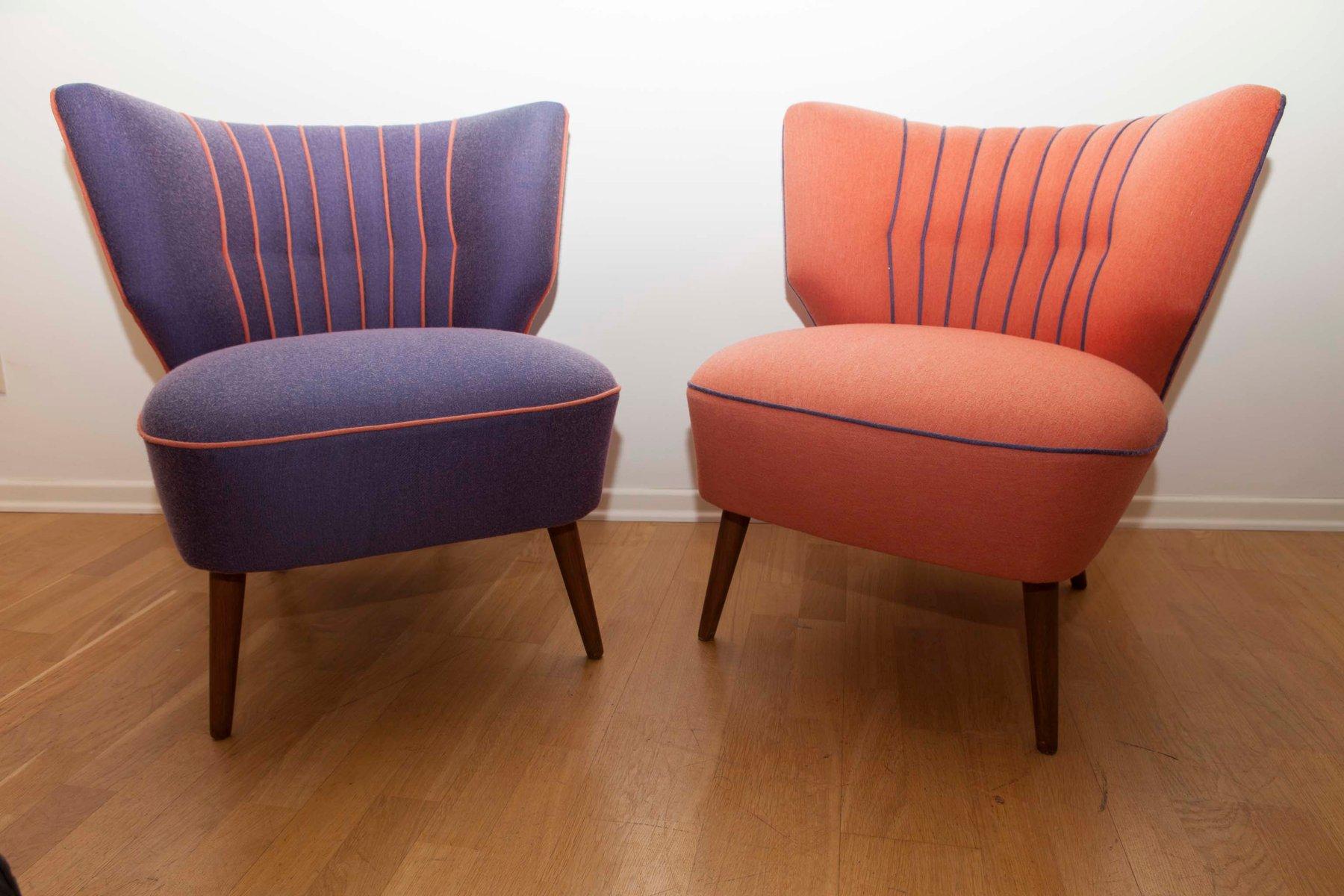mid century sessel in orange lila 1950er 2er set bei. Black Bedroom Furniture Sets. Home Design Ideas