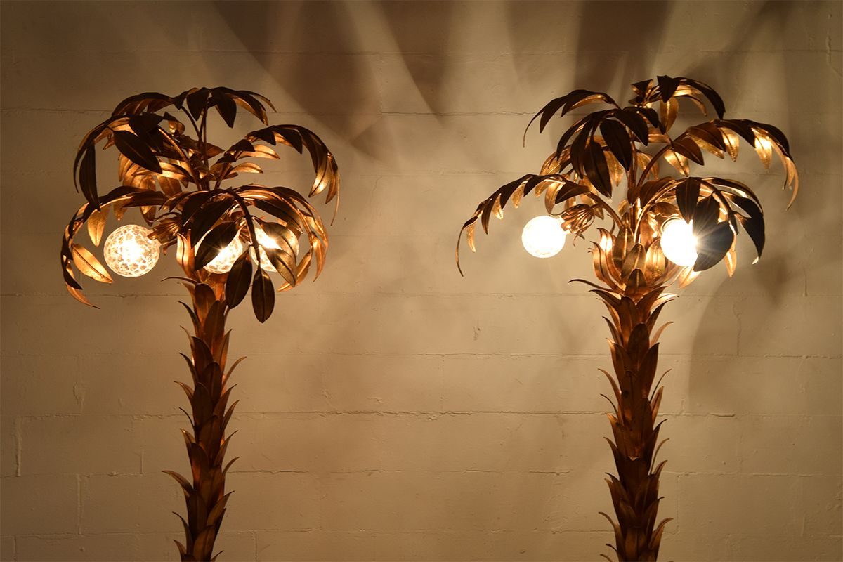Vintage Gilt Palm Tree Lamps By Hans Kögl, Set Of 2