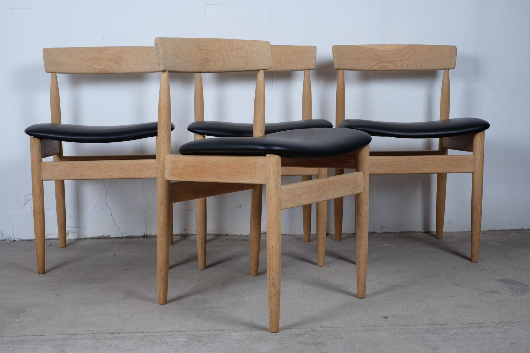 Mid Century Danish Solid Oak Dining Chairs Set Of 4