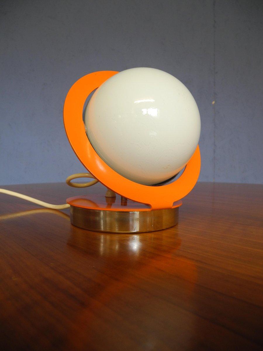 Mid Century Spherical Orange Space Age Saturn Lamp With Metal Frame