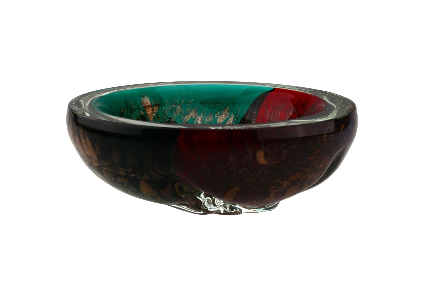 italienische mid century murano glas schale in rot und gr n mit gold sprenkeln bei pamono kaufen. Black Bedroom Furniture Sets. Home Design Ideas