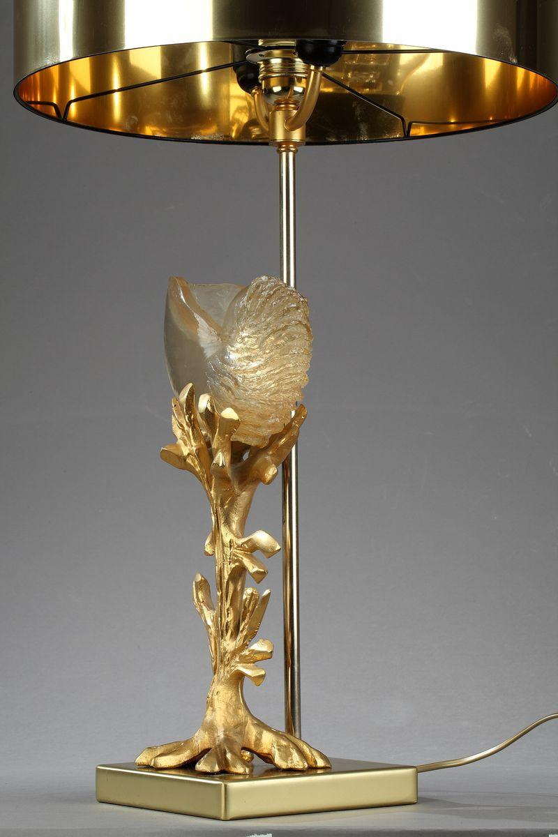 vergoldete metall lampe 1970er bei pamono kaufen. Black Bedroom Furniture Sets. Home Design Ideas