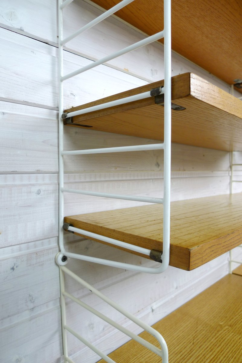 wand regalsystem aus esche von nisse strinning f r string design ab 1960er bei pamono kaufen. Black Bedroom Furniture Sets. Home Design Ideas