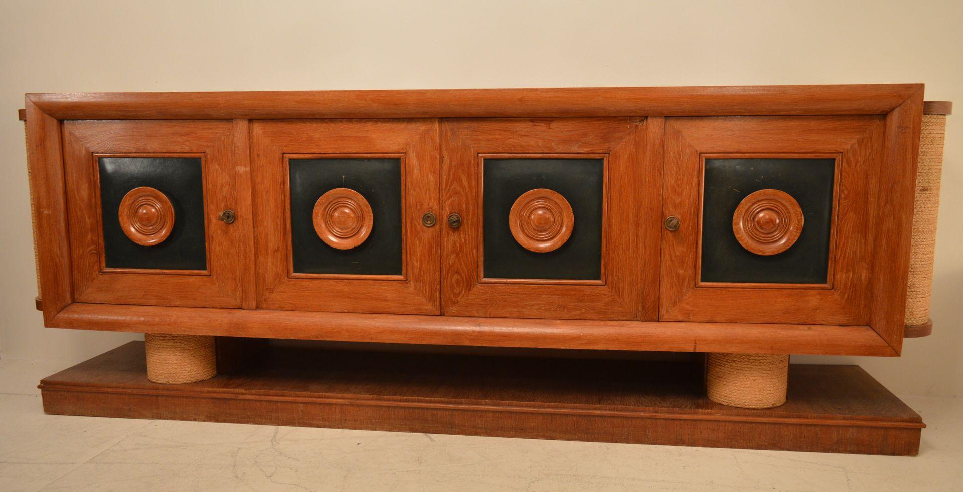 gro es sideboard aus eiche von adrien audoux und frida minet 1940er bei pamono kaufen. Black Bedroom Furniture Sets. Home Design Ideas