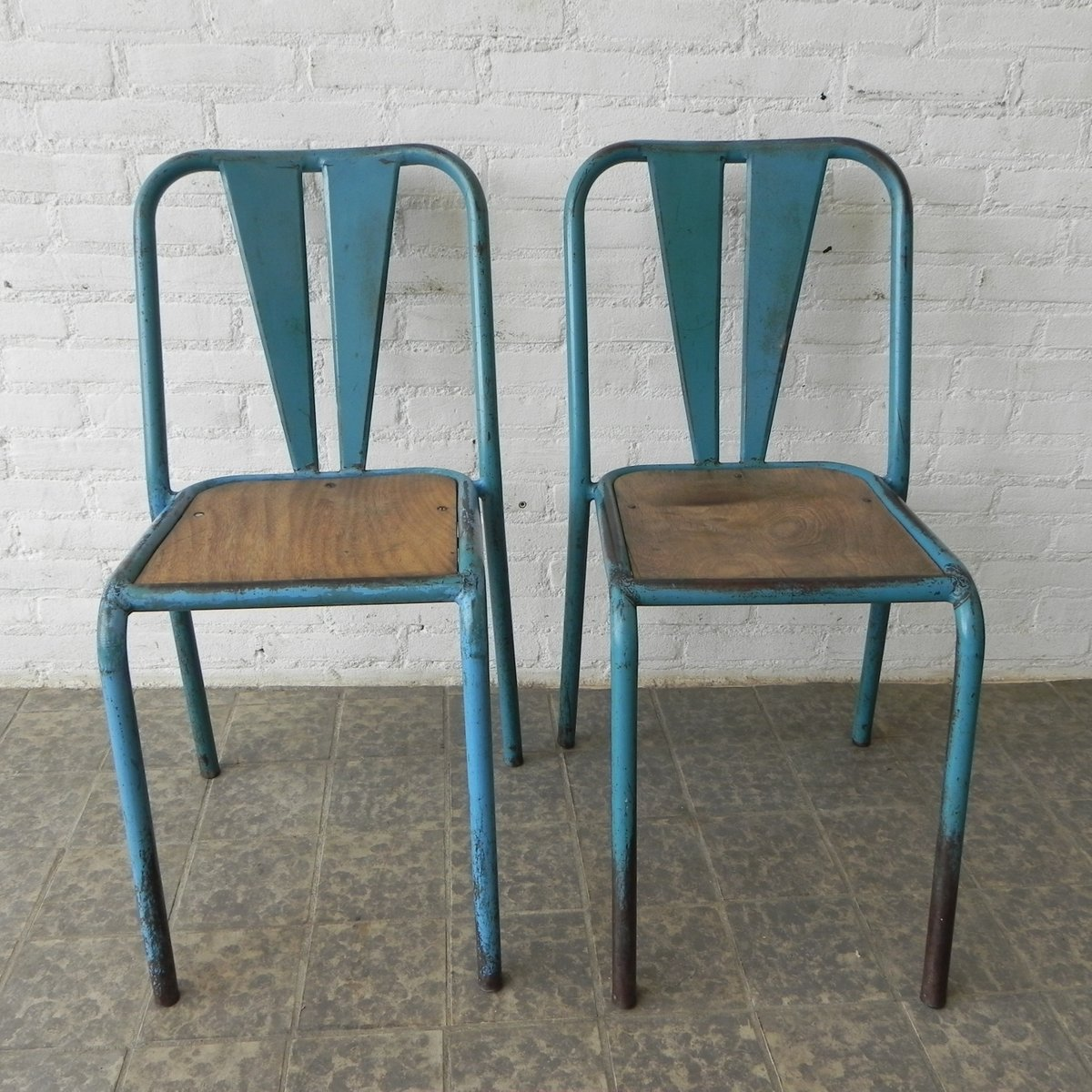 mid century industrial furniture. Industrial Mid-Century French Steel Chairs, Set Of 2 Mid Century Furniture