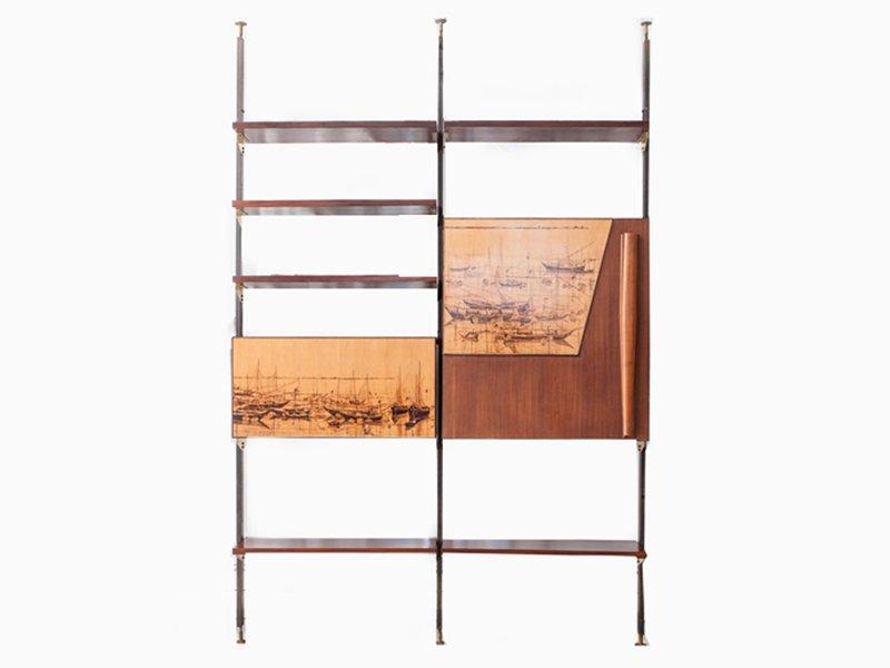 vintage regalsystem aus massivholz metall messing bei. Black Bedroom Furniture Sets. Home Design Ideas