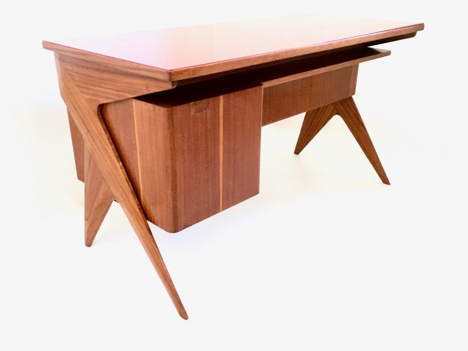 italienischer mahagoni schreibtisch 1950er bei pamono kaufen. Black Bedroom Furniture Sets. Home Design Ideas