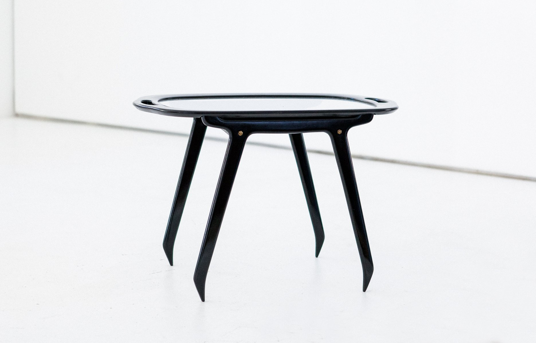 Italian Black Wood & Glass Coffee Or Service Table By