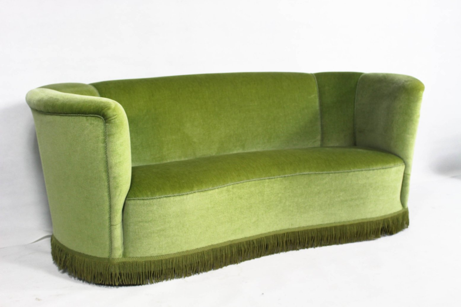 Velour Sofa curved green velour sofa 1950s for sale at pamono