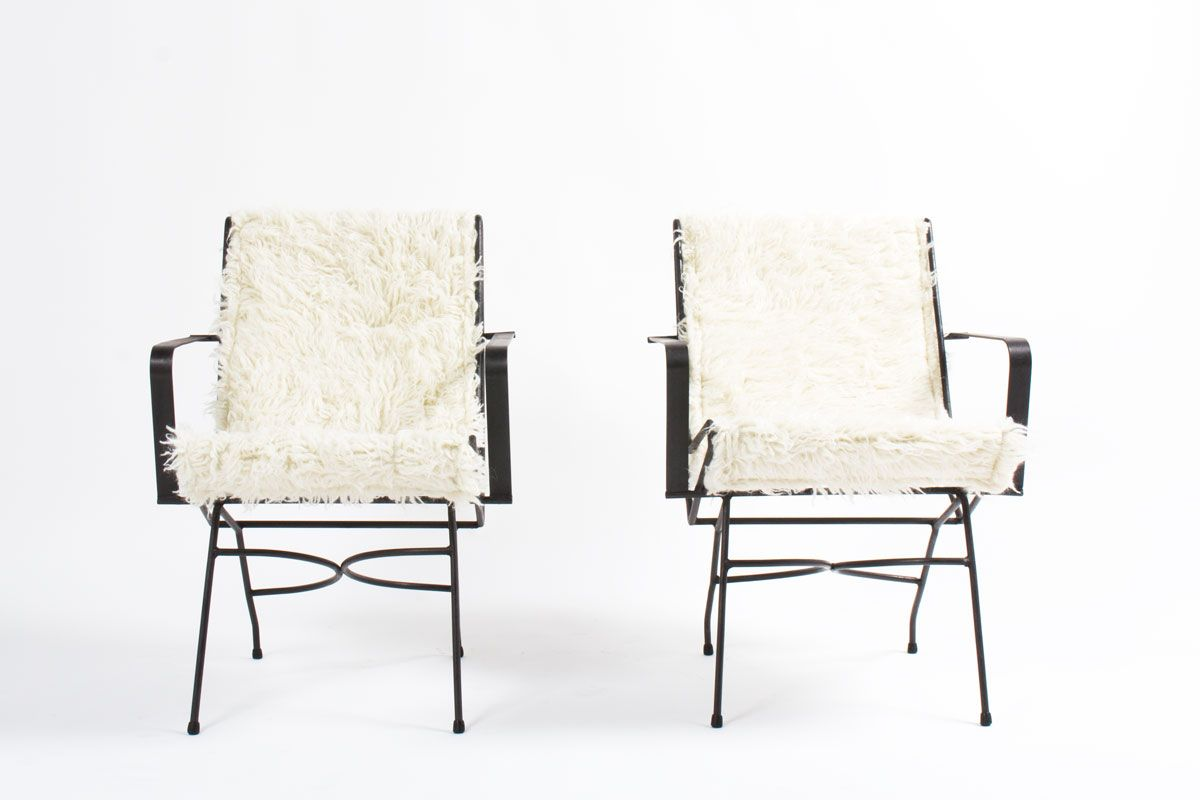 metall armlehnst hle mit wollbezug 1930 2er set bei pamono kaufen. Black Bedroom Furniture Sets. Home Design Ideas