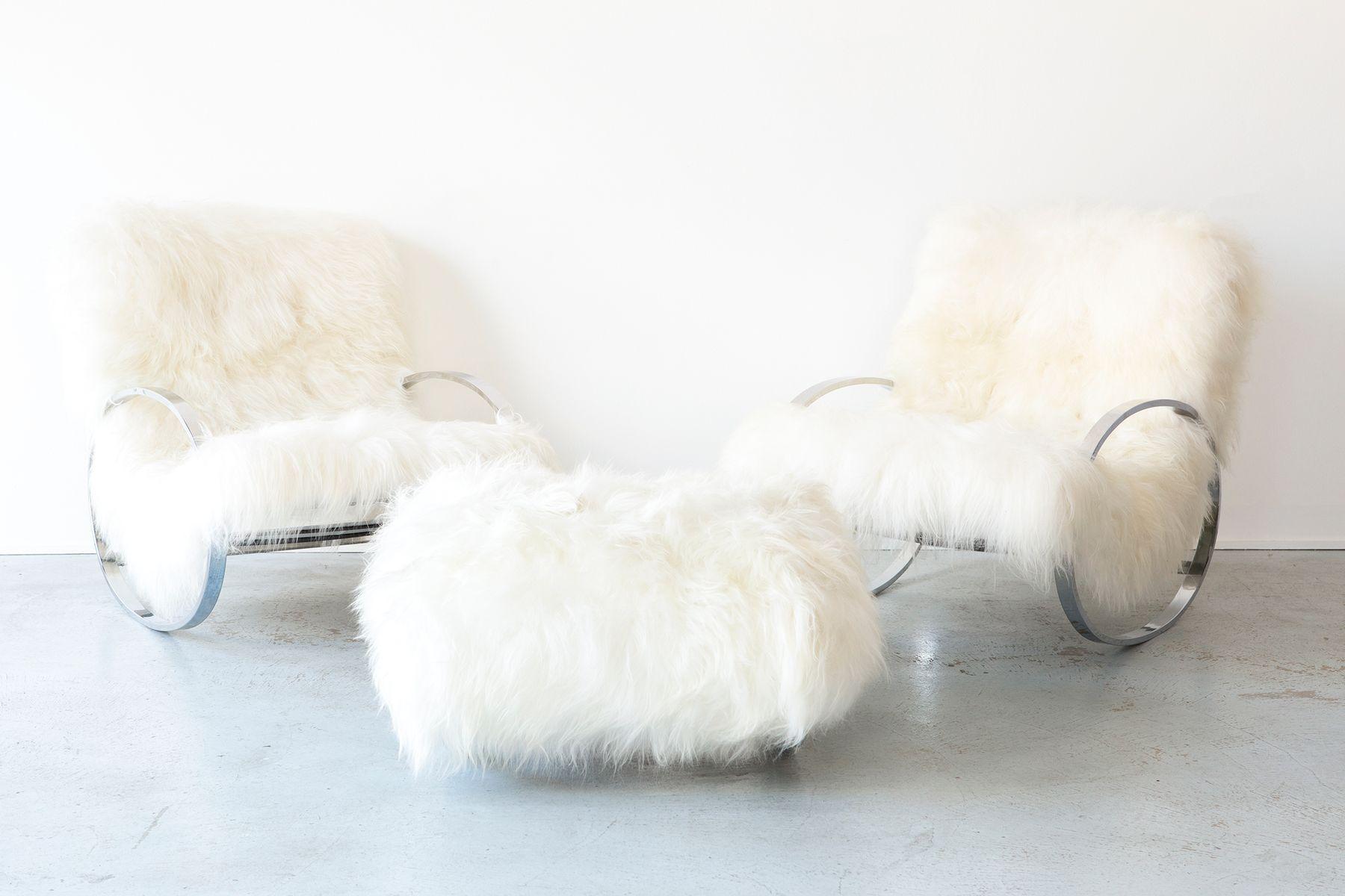schaukelst hle und ottomane von renato zevi f r selig 1970er bei pamono kaufen. Black Bedroom Furniture Sets. Home Design Ideas