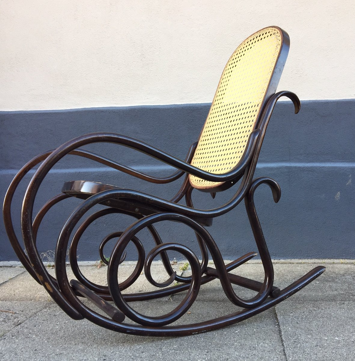 Vintage French Bentwood Junior Rocking Chair With Swirls, 1970s