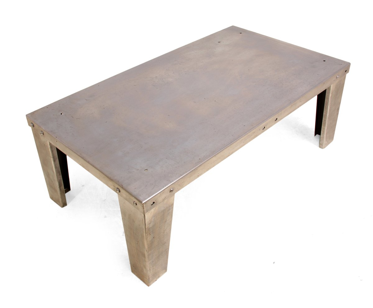 Industrial Polished Steel Coffee Table 1930s For Sale At