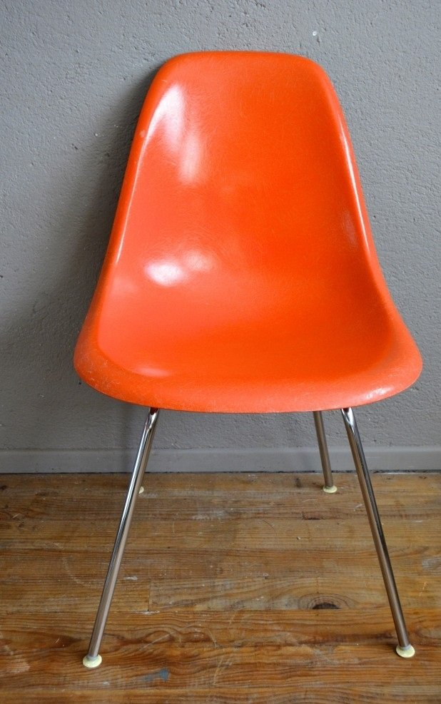 Vintage Orange Dsx Chairs By Charles Ray Eames For Herman Miller
