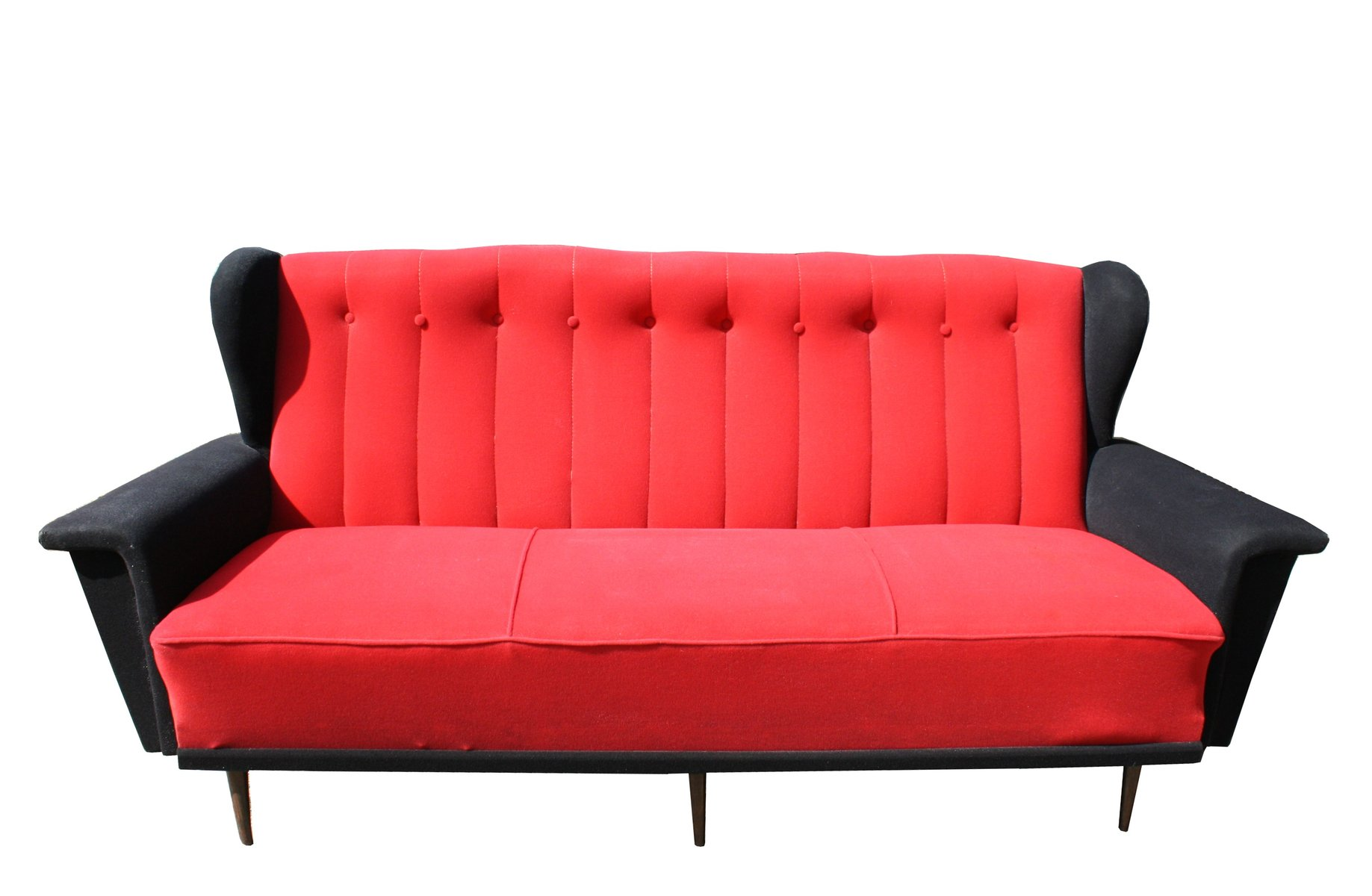 vintage sofa in rot und schwarz 1950er bei pamono kaufen. Black Bedroom Furniture Sets. Home Design Ideas