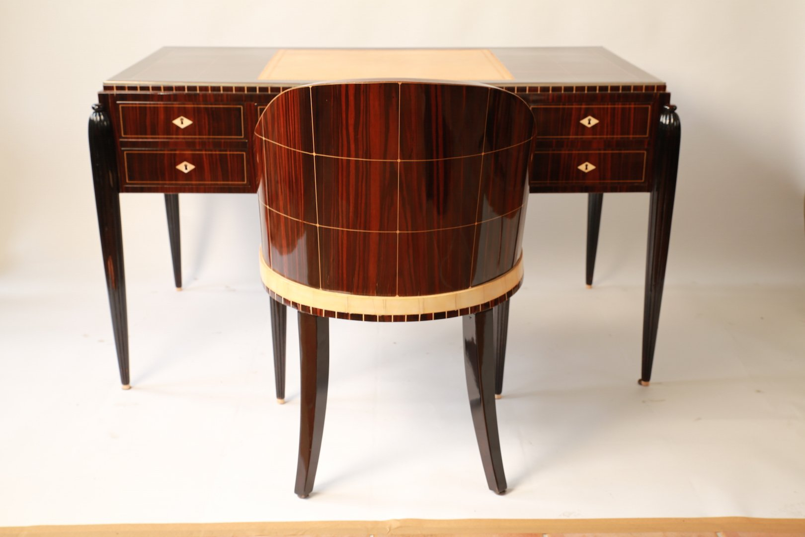 art d co desk chair ensemble 1920s for sale at pamono. Black Bedroom Furniture Sets. Home Design Ideas