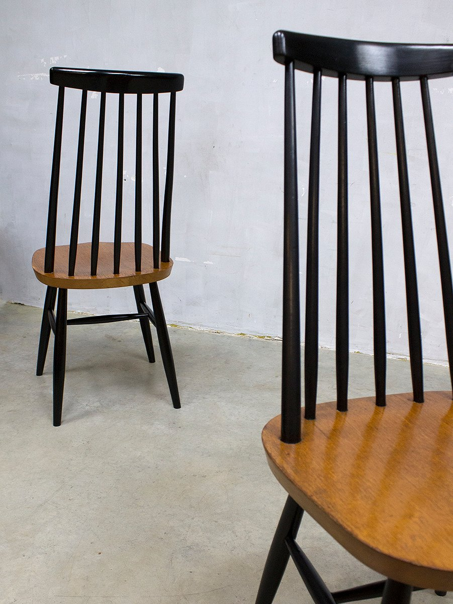 chaises de salle manger mademoiselle vintage avec dossier barreaux par ilmari tapiovaara. Black Bedroom Furniture Sets. Home Design Ideas
