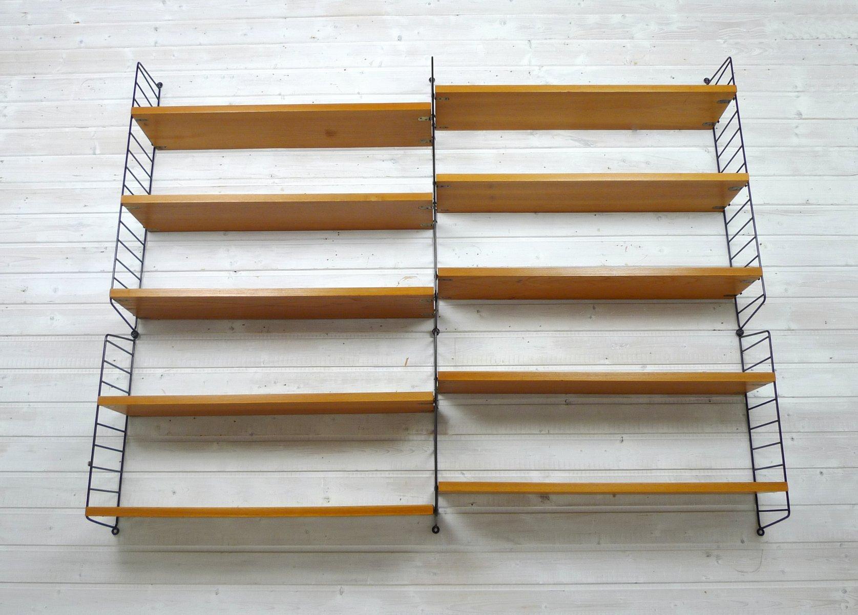 wand regalsystem aus esche von nisse strinning f r string schweden 1960er bei pamono kaufen. Black Bedroom Furniture Sets. Home Design Ideas