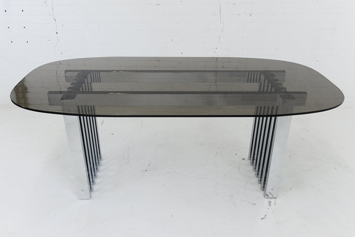 Mid Century Modern Chrome And Glass Dining Table, 1970s For Sale At Pamono