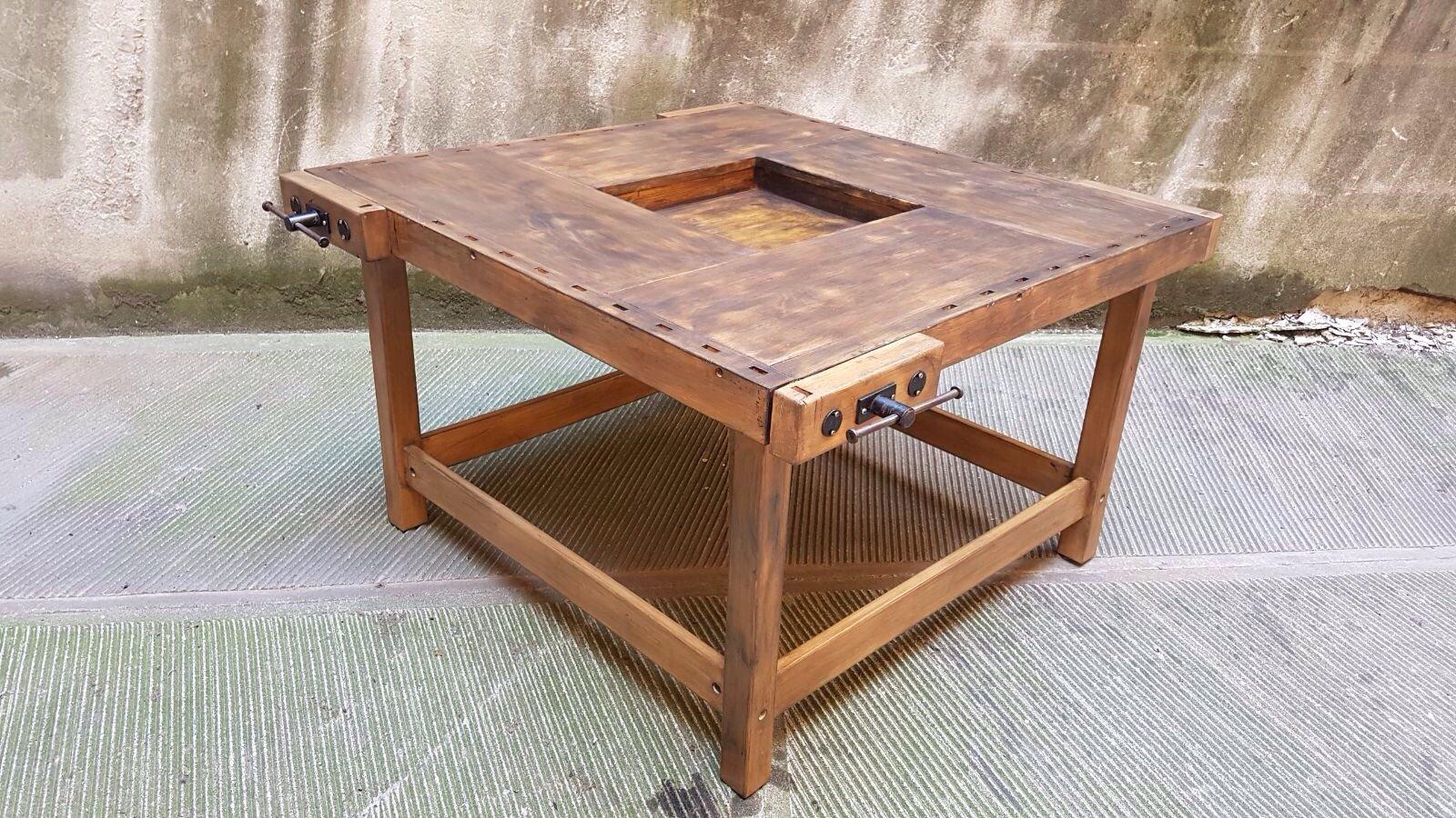 Tavolo da falegname vintage con 4 cassetti in vendita su - Tavolo da falegname ...