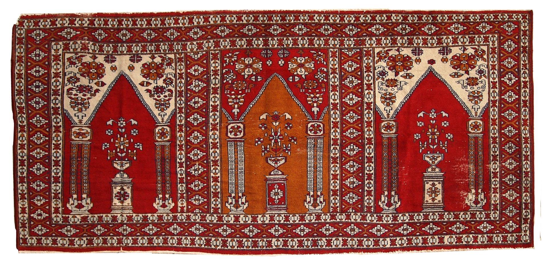 Vintage Turkish Handmade Prayer Rug 1960s