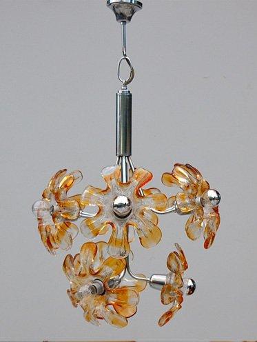 chandelier en verre de murano et chrome par mazzega 1970s en vente sur pamono. Black Bedroom Furniture Sets. Home Design Ideas