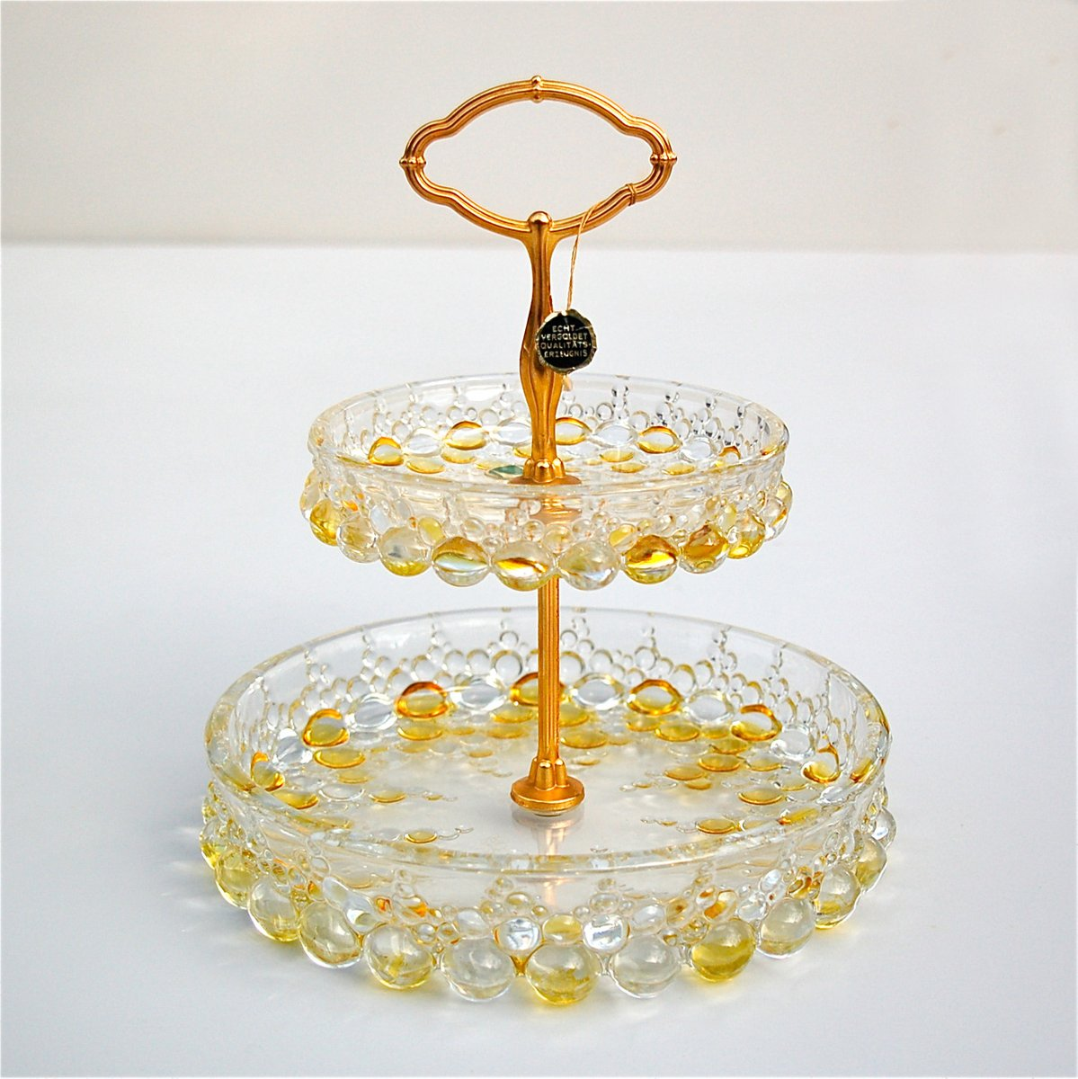 Tiered Bubble Glass Cake Stand with Gilt Stem from Walther Glas ...