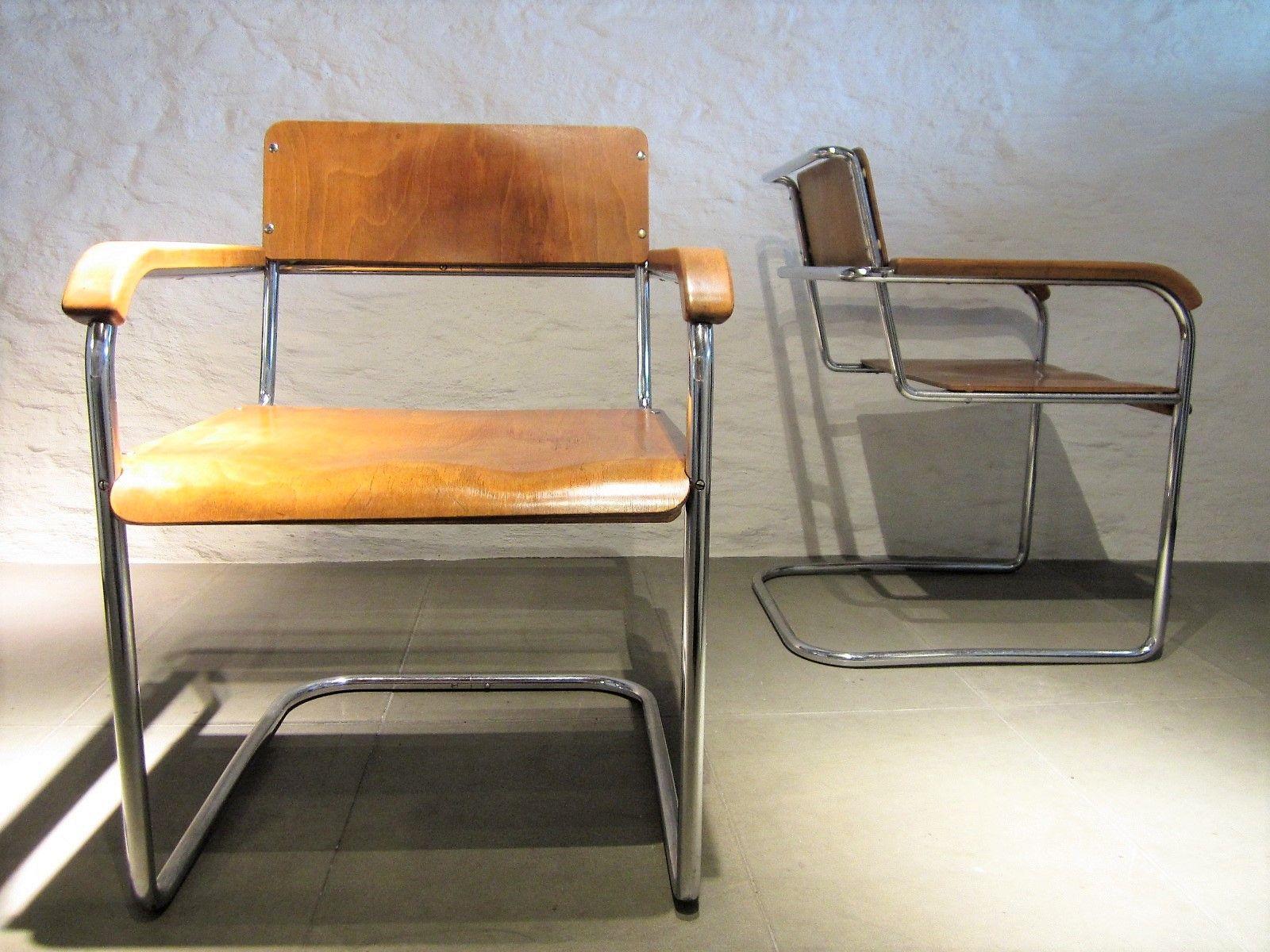 deutsche vintage b34 freischwinger von marcel breuer 2er set bei pamono kaufen. Black Bedroom Furniture Sets. Home Design Ideas