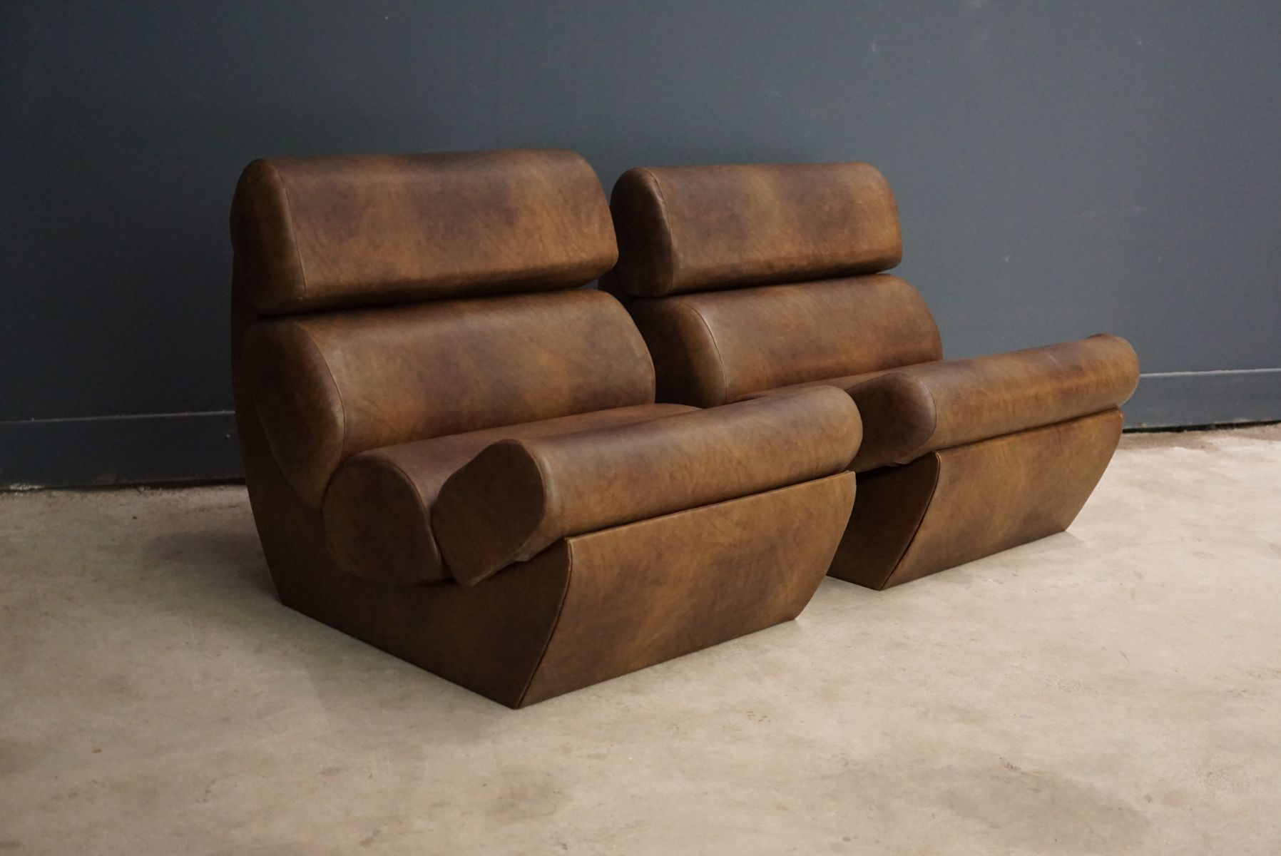 Attractive Italian Faux Leather Lounge Chairs, 1970s, Set Of 2