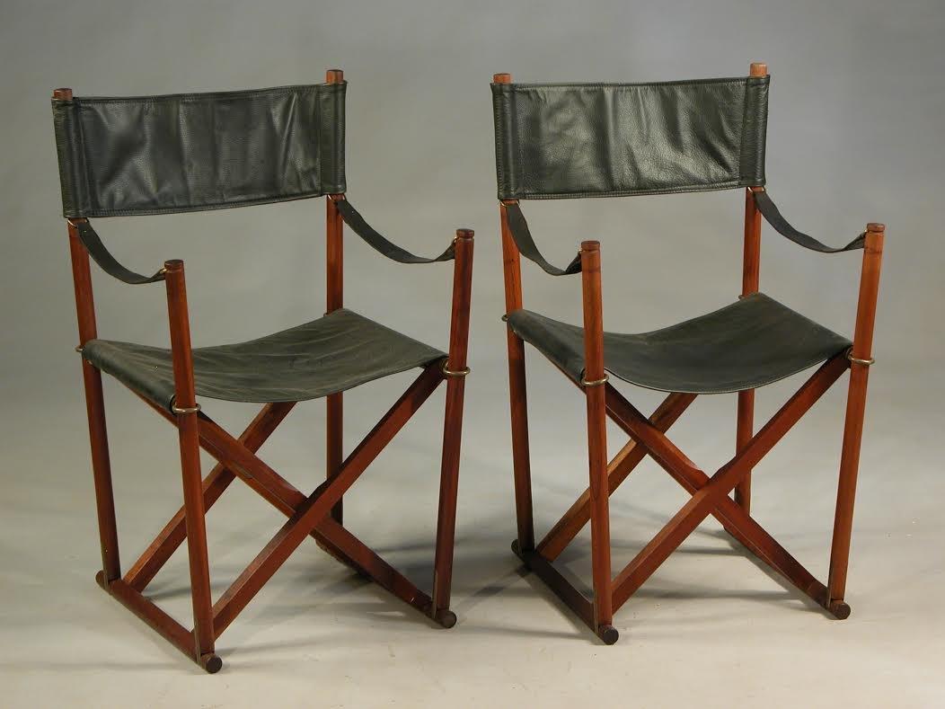 Teak, Brass, U0026 Black Leather Safari Folding Chair By Mogens Koch For Rud.  Rasmussen, 1960s