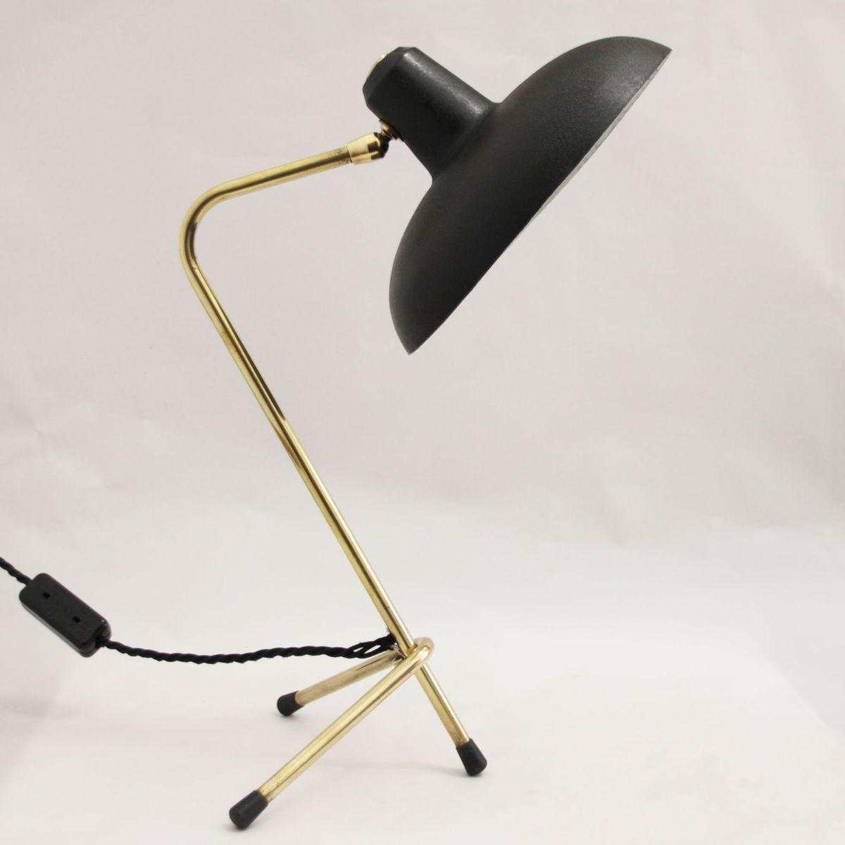Lampe de bureau cocotte noire vintage 1950s en vente sur pamono - Lampe de bureau noire ...