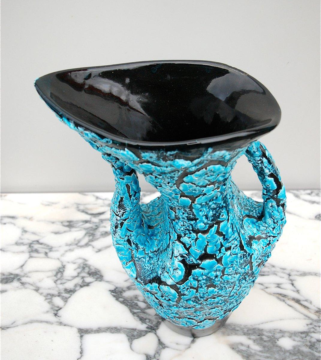 fat lava vase in hellem blau und schwarz 1950er bei pamono kaufen. Black Bedroom Furniture Sets. Home Design Ideas