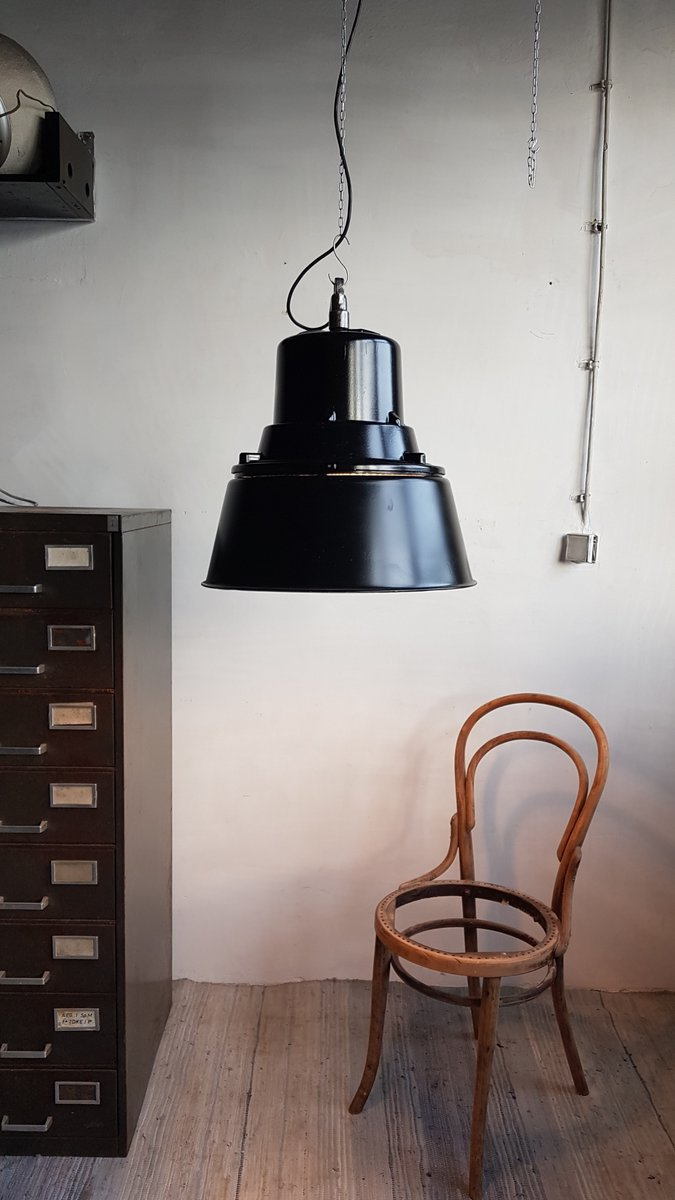 gro e polnische industrie lampe in schwarz von mesko 1968. Black Bedroom Furniture Sets. Home Design Ideas