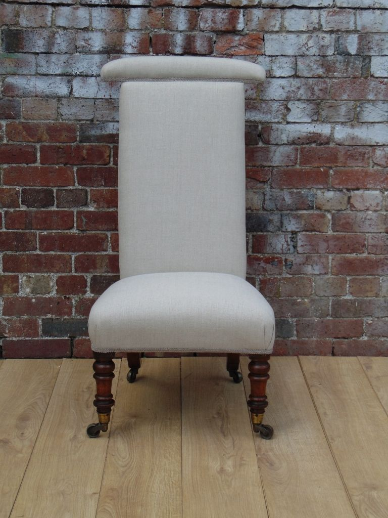 Antique Prayer Chair in Linen - Antique Prayer Chair In Linen For Sale At Pamono
