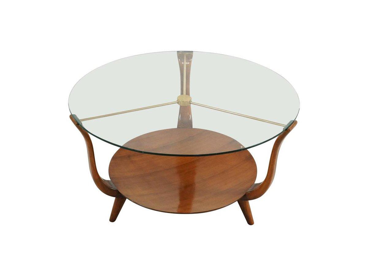 table basse ronde en noyer laiton et verre italie 1950s. Black Bedroom Furniture Sets. Home Design Ideas