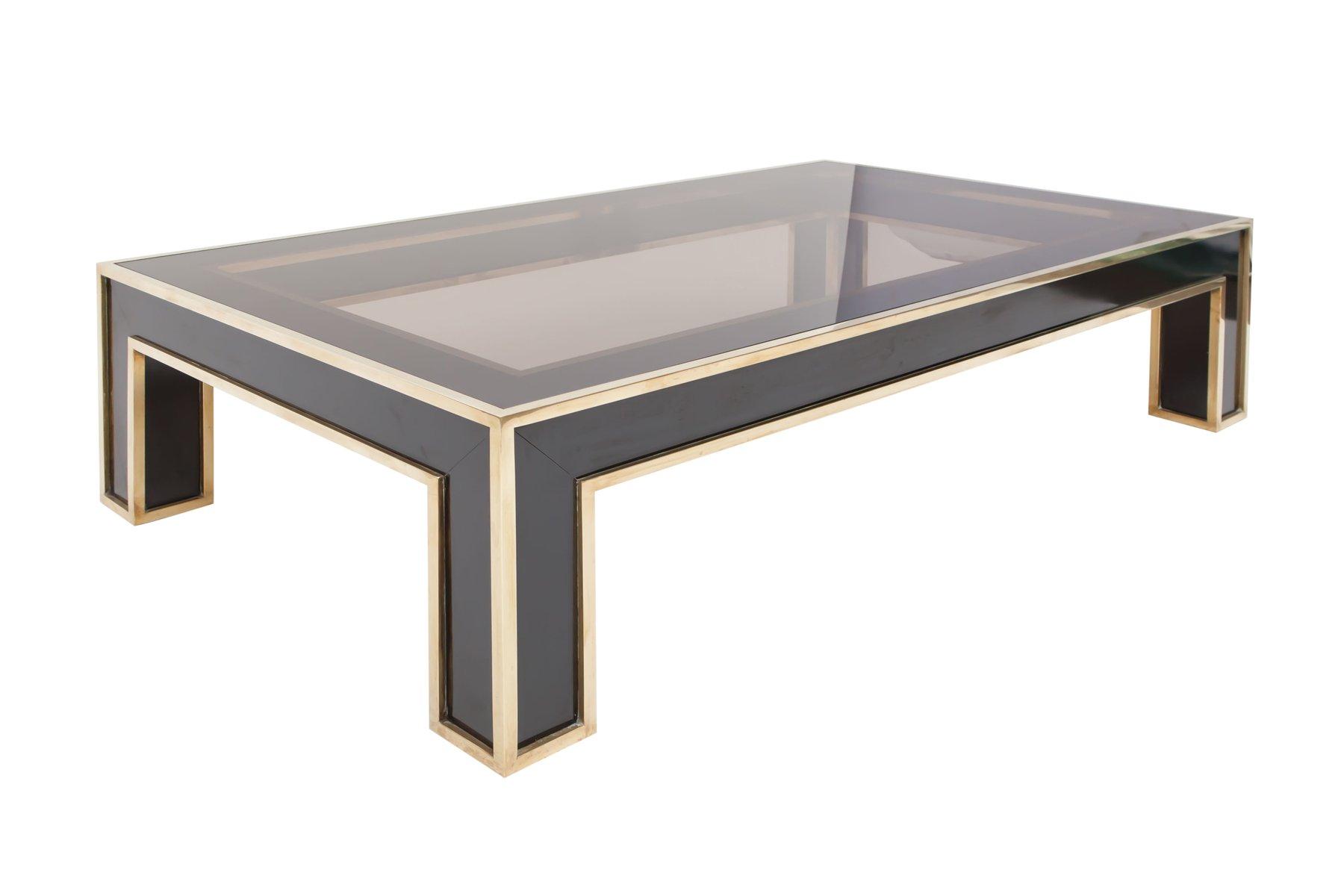 rechteckiger couchtisch aus schwarzem laminat und messing von romeo rega 1970er bei pamono kaufen. Black Bedroom Furniture Sets. Home Design Ideas