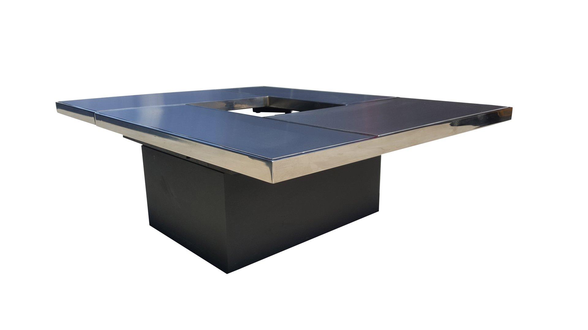 table basse coulissante avec bar cach de belgo chrom. Black Bedroom Furniture Sets. Home Design Ideas