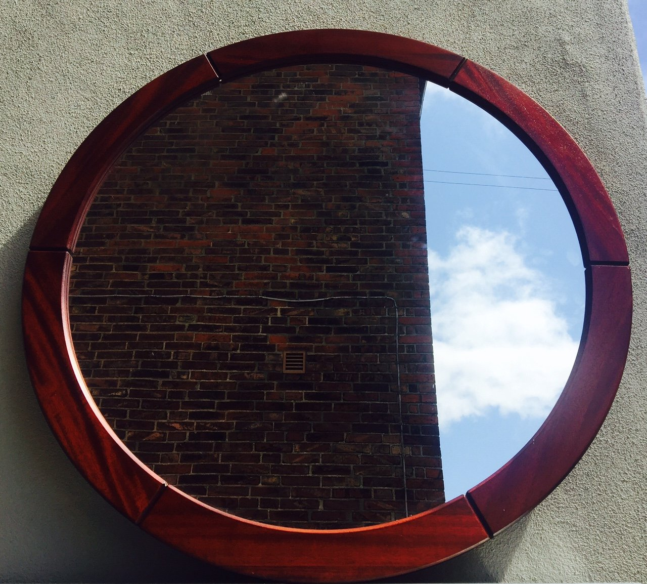 runder d nischer teak wand spiegel von john kristoffersen son f r korinth 1970er bei pamono. Black Bedroom Furniture Sets. Home Design Ideas